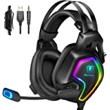 Cuffie Gaming per PS4 PC PS5 Xbox One Stereo Audio Surround 3D Bass Cuffie con Microfono Cancellazione del Rumore, Controllo