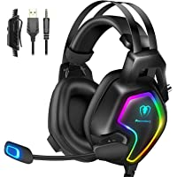 Cuffie Gaming PS4 PS5 Xbox One Stereo Audio Surround 3D Bass Cuffie con Microfono Cancellazione del Rumore, Controllo…