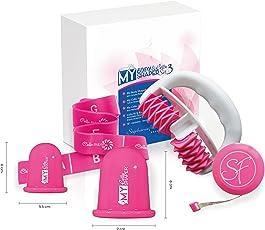 Das Power-Set gegen Cellulite : Der Massageroller My Body Shaper, die Saugglocken My Cellu Shaper S and L und das Elastikband Cellu Fit&Firm gelten als bewährte Cellulite-Behandlungsmethoden. Pink