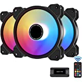 EZDIY-FAB 120mm ARGB Caso Ventilador,Placa Base Aura Sync Ventilador,Alto Flujo de Aire,Ventilador RGB Direccionable con 10-P