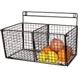 INDIAN DECOR 35006 Black Metal Wire Wall-Mounted 2-Compartment Storage Basket