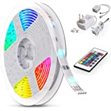 B.K.Licht LED Strip 5m, RGB Streifen, Strips, Band mit Farbwechsel, Stripes mit Fernbedienung, Lichtband selbstklebend, LED L