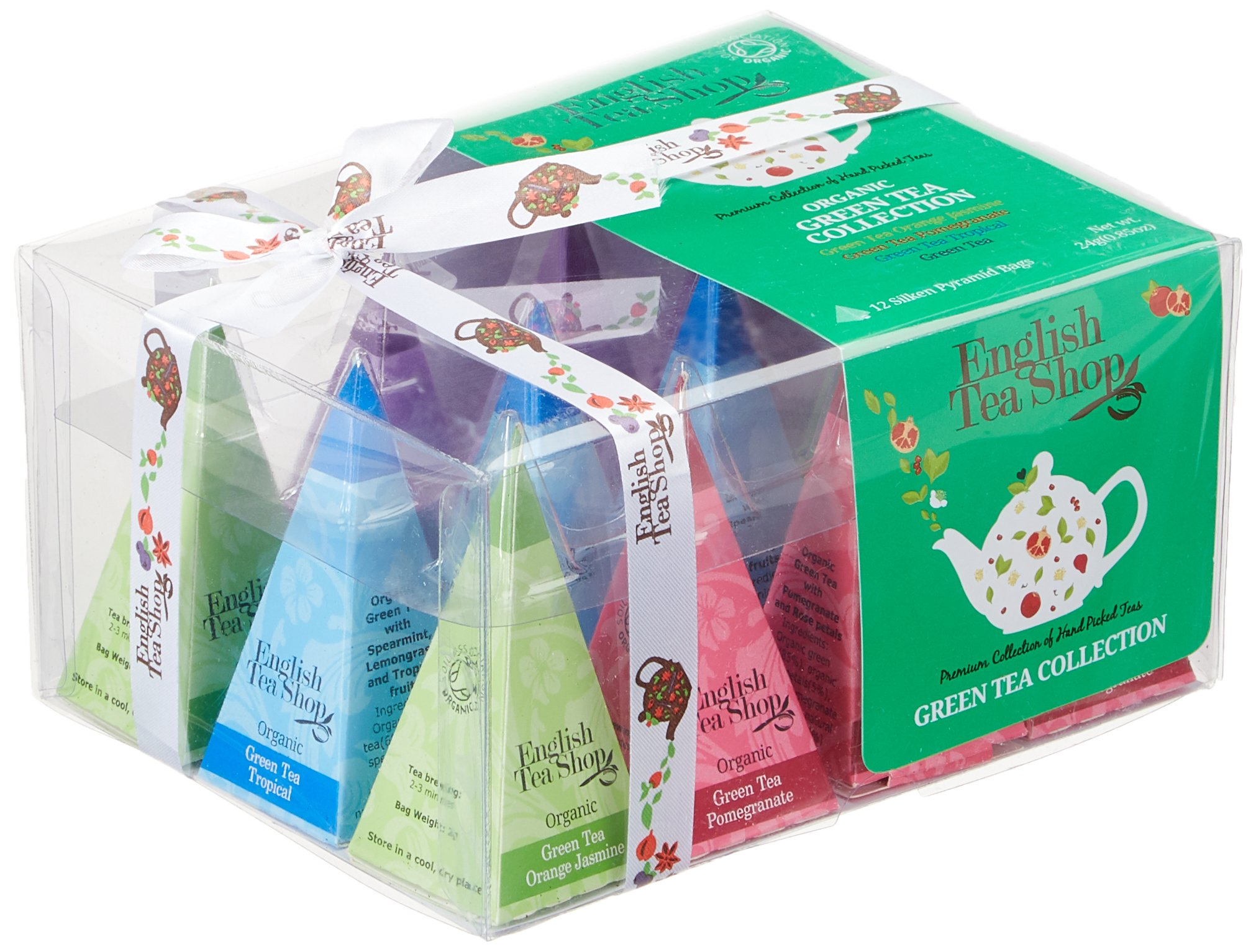 English-Tea-Shop-Teegeschenk-mit-SchleifeGrner-Tee-Kollektion-BIO-12-Pyramiden-Beutel