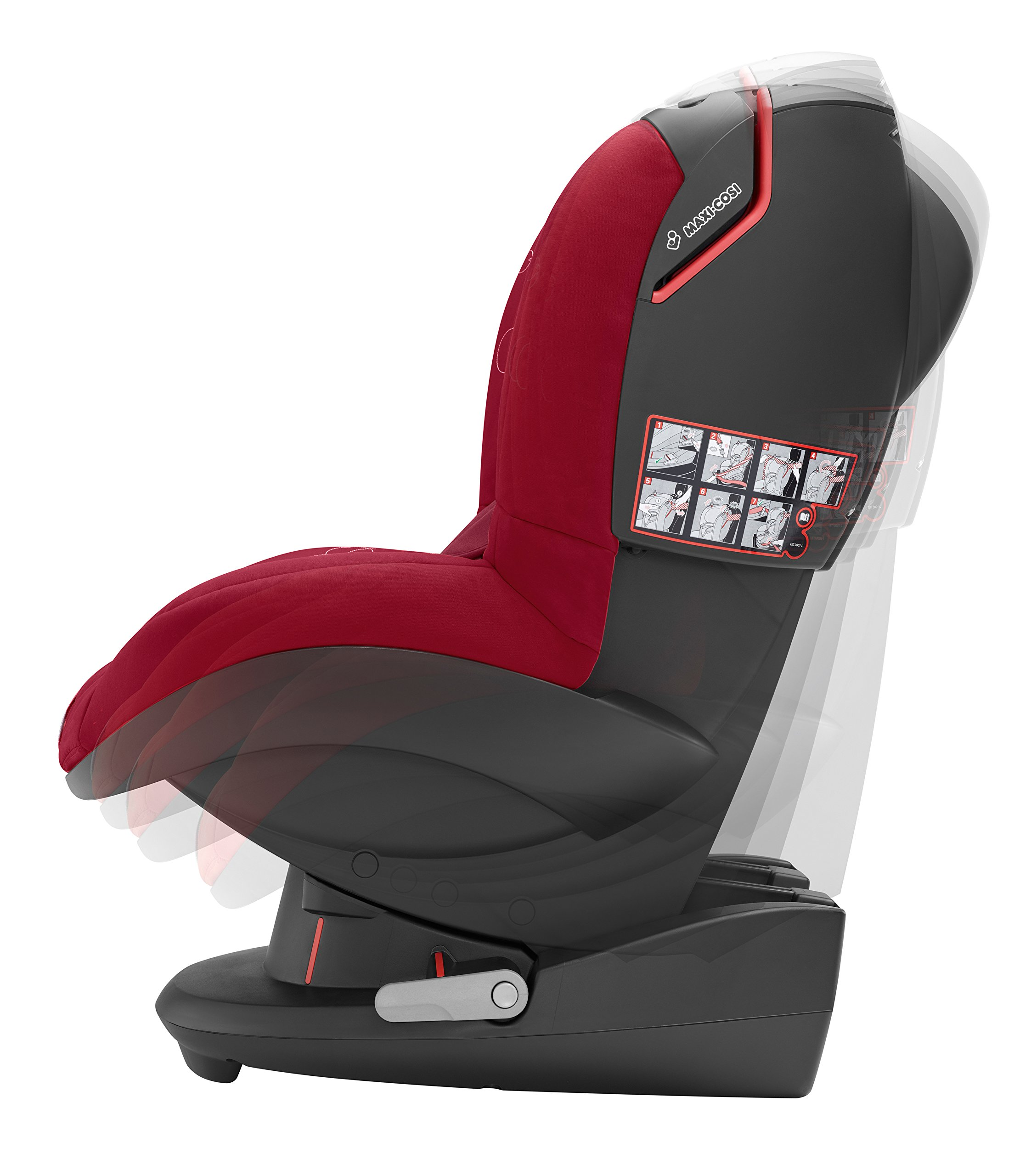 Maxi-Cosi Tobi Toddler Car Seat Group 1, Forward-Facing Reclining Car Seat, 9 Months-4 Years, 9-18 kg, Denim Hearts Maxi-Cosi Forward facing, suitable for toddler of weight 9-18 kg Easy to install with a three-point safety belt Intuitive and easy to read belt routing 4