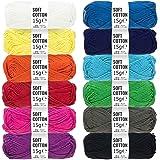 HANSA-FARM Baumwolle (100%) Set - 180g Amigurumi Set (12 x 15g) - Häkelset für Anfänger - Amigurumi Wolle zum Stricken & Häkeln in 12 bunten Farben - Amigurumi häkeln mit fairwool