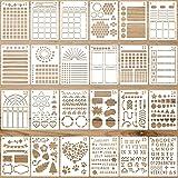 24 Pochoirs de Journal Modèles de Planificateur en Plastique Pochoirs de Peinture Réutilisables Modèles de Dessin de Calendri