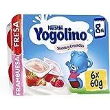 Nestlé Yogolino Postre lácteo Suave y Cremoso, 24 tarrinas de Fresa y 24 tarrinas Frambuesa - Para bebés a partir de 8 Meses,