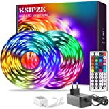 Ksipze LED Strip 15m, RGB 5050 LED Strip met Afstandsbediening LED Verlichting met Meerkleurige Verlichting, Gebruikt Voor Sl