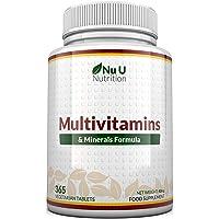 Multivitamins & Minerals Formula   24 Vitamines et Minéraux   Végétarien   Homme/Femme   Cure d'1 An/365 Comprimés…