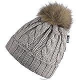 Miuno® MZ161 - Berretto invernale in vera pelliccia con pompon, con fodera in orsacchiotto