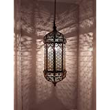 HAQ METAL WORKS Vintage Metal Moroccan Wall Hanging Light for Ceiling (Black Powder Antique Shade with Gold, Hanging Pendant)