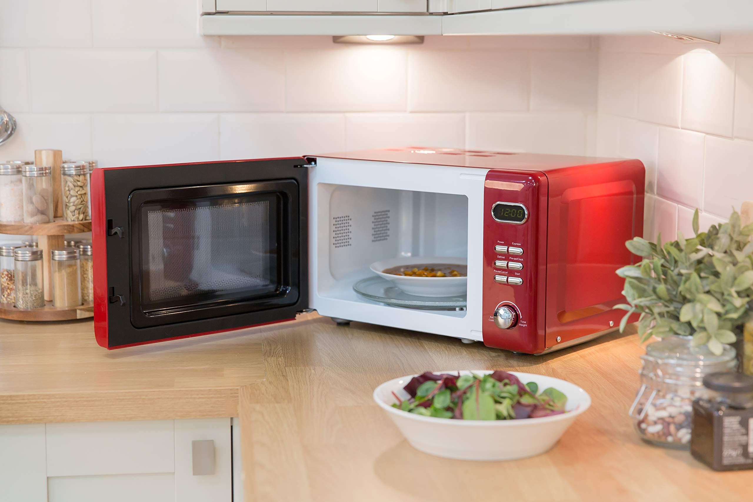 81fj0a0c7BL - Russell Hobbs RHRETMD806R Solo Microwave, Red, 17 liters