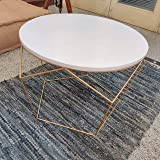Priti Golden Dreamer Morgan Iron Wooden Coffee Side End Table for Living Room (Golden)