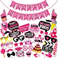 WOBBOX Half Birthday Photo Booth Party Props Pink for Baby Girl with Half Birthday Bunting Banner for Baby Girl in Pink, 1/2