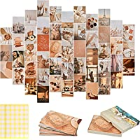50 Pièces Kit de Collage Mural Esthétique, Kit d'affiches de Collage pour l'esthétique Thème de Beige, Photo Collage…