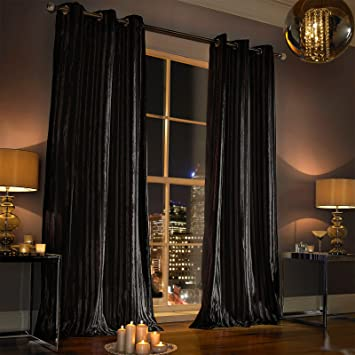 Kylie Minogue Iliana Eyelet Lined Curtains, 90 x 90 inches - Black ...