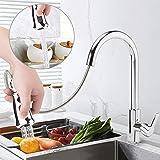 TANBURO Grifo de Cocina con Ducha Extraible para el Fregadero de Cocina,3 Modos de Chorros, Caliente y Fria Disponibles, Gira
