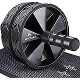 Amonax - Rullo per addominali convertibile con grande tappetino per ginocchio per esercizi di rollout Core Abs, doppia ruota