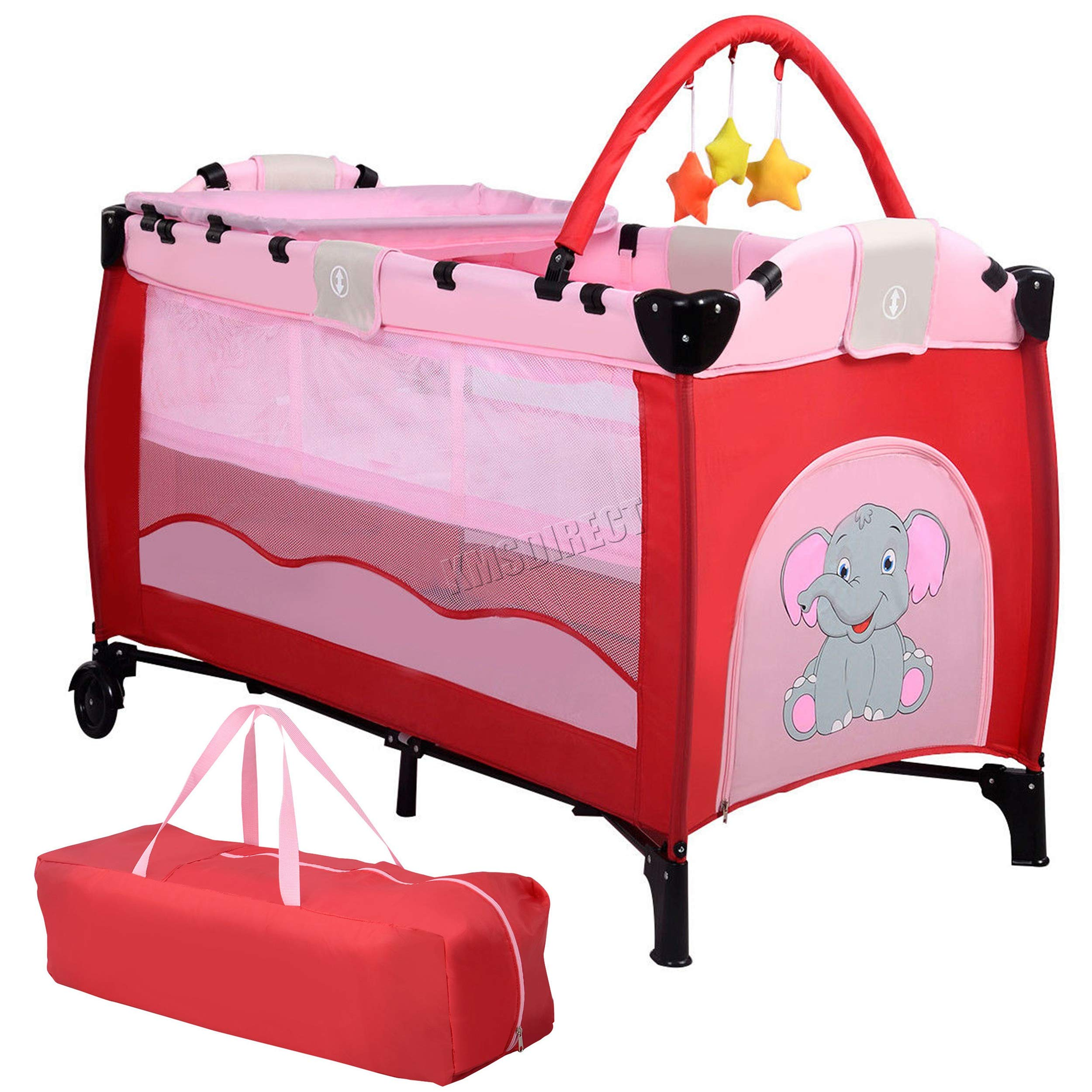 new style 26e2a dd3cb FoxHunter Portable Baby Cot Sleeping Bed Kids Infant Playpen Bassinet Child  Play Pen with Entryway Travel BCB01 Pink