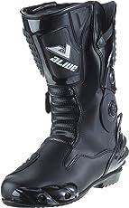 protectWEAR TS-006-43 Motorradstiefel Racing aliue, Wasserabweisend aus schwarzem Leder mit aufgesetzten Hartschalenprotektoren, Größe 43, Schwarz