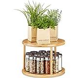 Relaxdays 10027489 rotative de Cuisine, Rotonde à épices 360°, étagère à parfums, HxD 19,5 x 24,5 cm, Bambou, Naturel