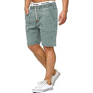 INDICODE Herren Cargo Shorts Bermuda kurze Hose Jeans Denim Leinen Jogg Chino