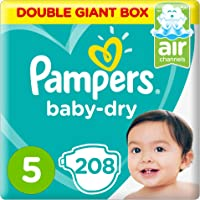 حفاضات بامبرز Baby-Dry، مقاس 5، كبير جداً، 11-18 كلغ، صندوق ضخم مزدوج، 208 حفاضاً
