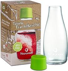Trinkflasche aus Glas 0,3 Liter von Neuronade® I stabiles Borosilikatglas & 100% BPA frei I praktische Glasflasche für unterwegs im Retap Design, inkl. Deckel
