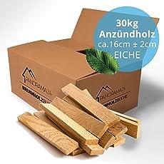 30KG Anfeuerholz Eiche, ofenfertig kammergetrocknet in ca. 16cm, Anmachholz Brennholz Kaminholz Feuerholz