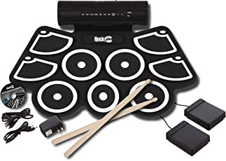 RockJam RJ760MD Electronic Roll Up MIDI Drum Kit with Built-in Speakers (Black)