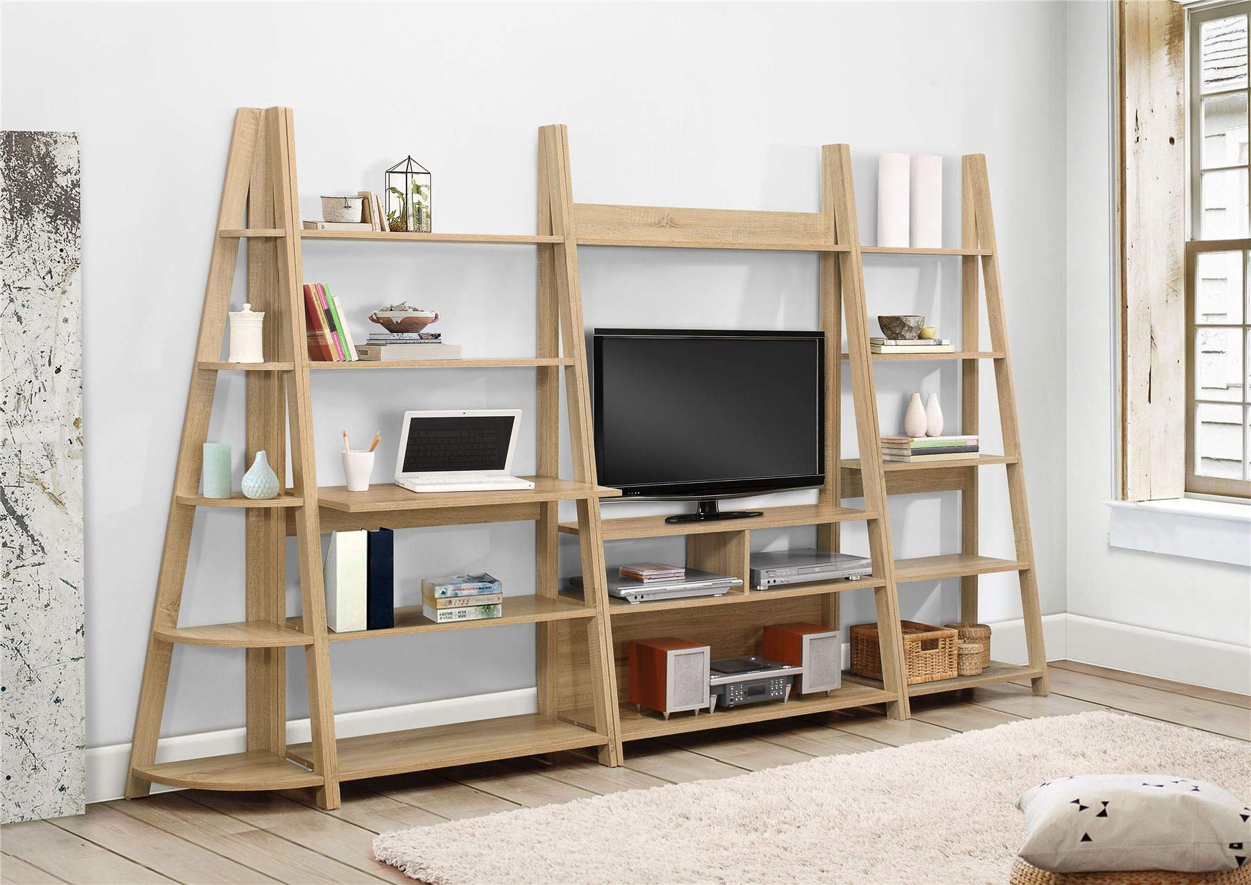 81fp606jAhL - Birlea, Dayton, Ladder Bookcase, Wood, Oak, One Size