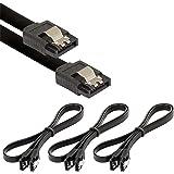 Poppstar 3x cavo dati di 0.5m flessibile Sata 3 HDD SSD, connettore dritto, fino a 6 GB/s, nero