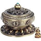 Kitchnexus - Bruciatore per incenso con portaincenso, stile tibetano, motivo fiore di loto, in lega di rame, per bastoncini e
