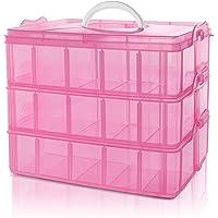 BELLE VOUS Boite de Rangement 3 Étages Empilable en Plastique Rose - Compartiments Réglables - Maximum 30 Compartiments…