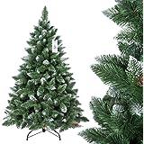 FairyTrees künstlicher Weihnachtsbaum KIEFER, Natur-Weiss beschneit, Material PVC, echte Tannenzapfen, inkl. Metallständer, 150cm, FT04-150