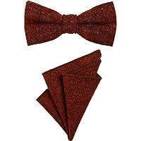 DonDon Papillon da uomo 12 x 6 cm di dimensioni regolabili abbinato a un fazzoletto da taschino 23 x 23 cm colorato in…