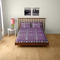 Core Designed by Spaces Splendor Cotton 104 TC Double Bedsheet with 2 Pillow Covers - Purple