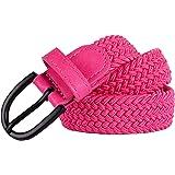 "Junior Braided Stretch Elastic Belt  Pin Buckle   PU Loop End Tip   Boys Girls   1"" width   5 Sizes 5 Colors"