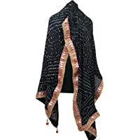 BANNA JI jaipuri bandhani dupattas for womens Art silk bandhej dupatta with gota patti Lace
