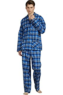 El B/úho Nocturno Mens Winter Special Pyjamas Set Checkered Long Sleeve Jacket with Buttons with Flannel Cotton Weave