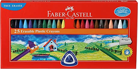 Faber-Castell Erasable Plastic Crayon Set - 70mm, Pack of 25 (Assorted)