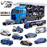 10 in 1 Police Transport Truck, Mini Die-Cast Plastic Play Vehicle in Carrier Car Toy Set, Mini Cars for Kid Children Boy And Girl Best Gift for Birthday Party Favors Christmas