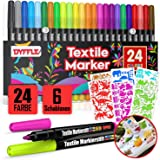 DYFFLE Textilstifte Waschmaschinenfest   24 Stoffmalstifte Waschfest, Textilfarbe Stifte, Textilmalstifte Für Textilien (wie