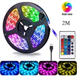 Gluckluz LED Light Strip 2m USB Decoration Lighting RGB Waterproof Lights with Remote Control for Bedroom Car Kids Indoor Out
