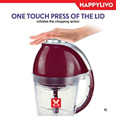 HappyLivo HACHI Vegetable Electric Chopper | 30 degree Swordfin Precision Blades | Ultra Large 1 litre bowl capacity | 200-Watt full Copper powerful motor | Food grade BPA free | Onion Vegetable Garlic Chopper | Dough maker whisk attachment | 6 months warranty