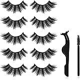 Long Thick Eyelashes, 3D Mink False Eyelashes, 5 Pairs Dramatic Lashes with Eyelashes Clip and 10 Pcs Disposable Eyelash Brushes