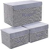 DIMJ Boîte de Rangement Tissu Pliable, Caisse de Rangement avec Couvercles pour Vêtements, Livres, Jouets, Bureau, Chambre à