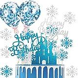 Deco Gateau Anniversaire Fille,Cake Topper Happy Birthday Ballon Confettis Gâteau Flocon de Neige,Decoration Gateau Personnal