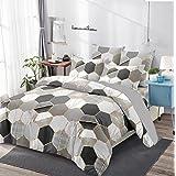Parure de lit 220x240 Adulte avec des Motifs géométriques en Losange Mircofibre Housse de Couette avec 2 Taie d'oreiller 65x6