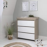 Tutti Bambini Modena Baby Changer Dresser Station Unit - Solid Wood 3 Drawer Chest Top Changer (White & Pine)